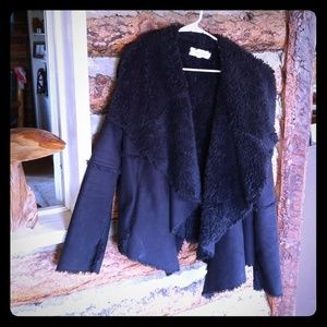 Black Suede & Faux Fur Calvin Klein Coat